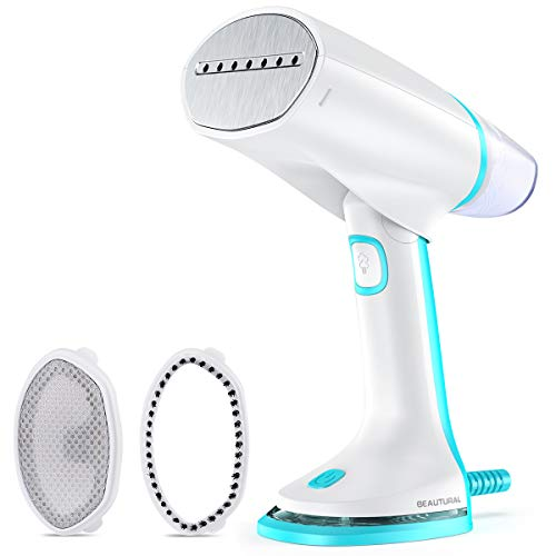 Beautural foldable travel steamer for clothes, dual voltage automatic adjustment, powerful handheld home garment fabric wrinkle remover, 40 second fast heat-up, auto-off