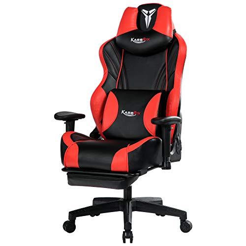 Kasorix Gaming Stuhl Atmungsaktiver Leder Gamer Stuhl mit Fußstütze, Chefsessel mit Verstellbarer Armlehne, höhenverstellbarer Computer-Drehstuhl(Rot-8523)