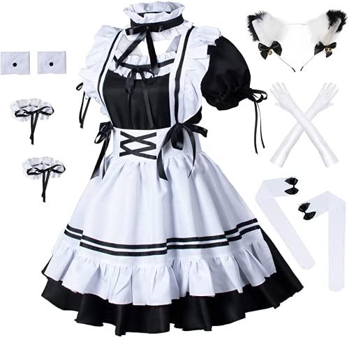 Anime French Maid delantal Lolita maquillaje Cosplay ropa felpa gato oído guantes calcetines conjunto (2XL)