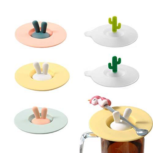 SoundZero 5 Stück Silikon Glasabdeckung Silikondeckel Silikon Silikon Tasse Abdeckung Wiederverwendbar Anti Staub Deckel Becher Abdeckung für Kaffee Bierkrug Trinkgläser(Kaninchen + Kaktus)