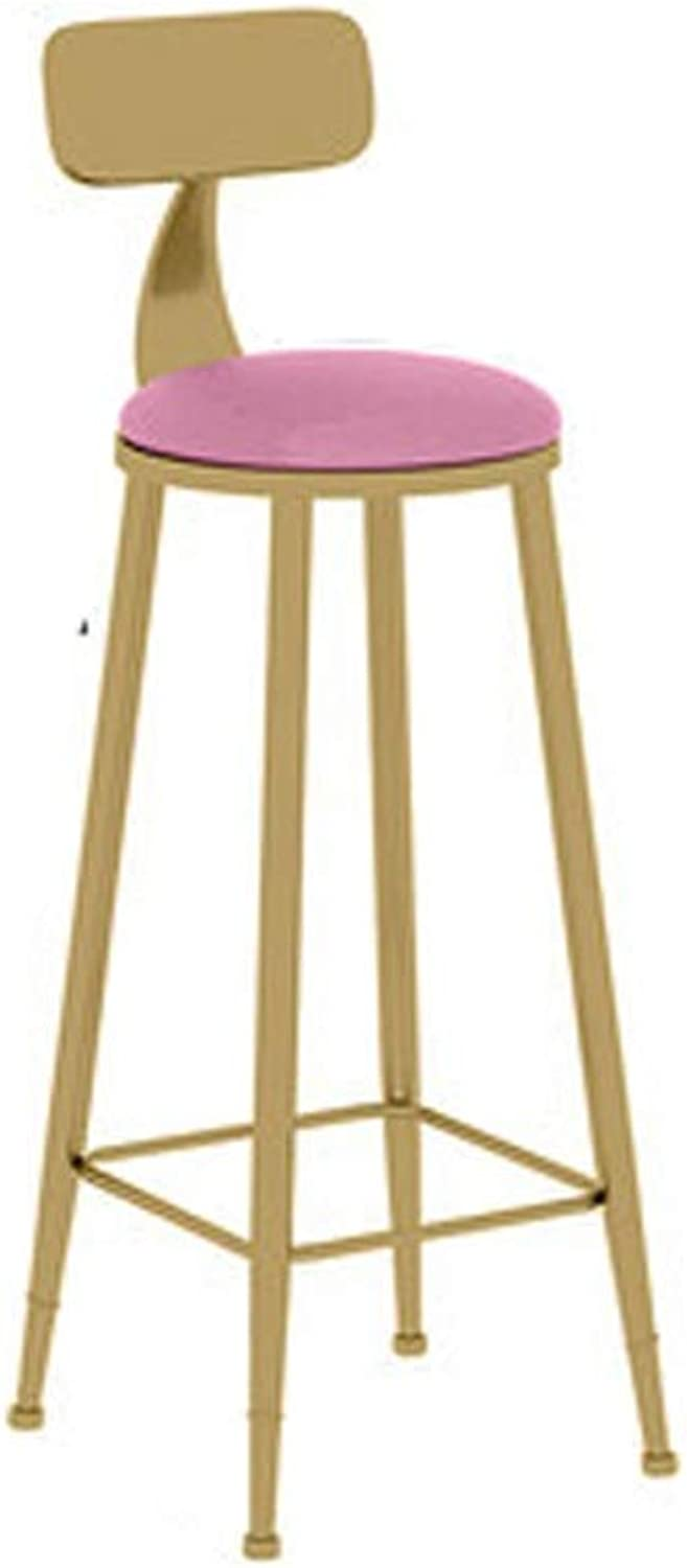 Barstool Nordic bar Stool Home Wrought Iron with backrest Simple Front Desk high Chair 3 colors 3 Sizes (color   Pink, Size   45cm)