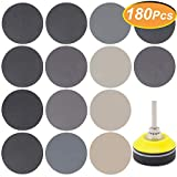 180 PCS 2 Inch Sandpaper, GOH DODD Wet Dry Sander Sheets with Backer Plate 1/4' Shank and Soft Foam Buffering Pad, 60 to 10000 Grits Grinding Abrasive Sanding Disc for Wood Metal Mirror Jewelry Car
