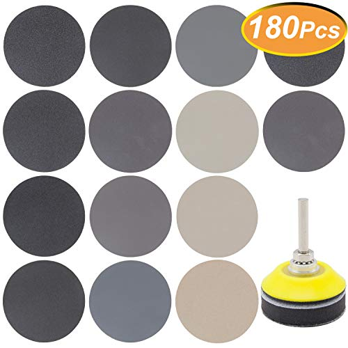 Great Features Of 180 PCS 2 Inch Sandpaper, GOH DODD Wet Dry Sander Sheets with Backer Plate 1/4 Sh...
