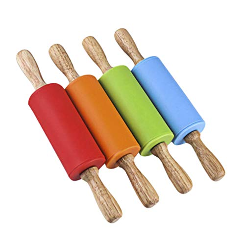 STOBOK Mini Rolling Pin, Kids Wooden Handle Rolling Pin Silicone Rolling Pins for Home Kitchen,4 Pack (Red, Green, Orange, Blue)