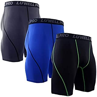 Men's 3 Pack Compression Shorts Baselayer Cool Dry Sports Tights Shorts for Running,Workout,Training