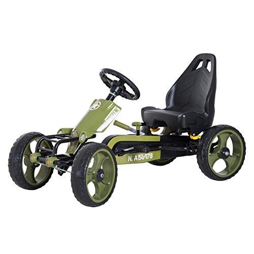 Homcom Vélo et véhicule pour Enfants Kart à pédales Militaire siège réglable Frein Manuel Roues AR EVA Acier...