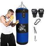 Aquarius CiCi - Saco de Boxeo con Cadenas + Gancho para Bolso + Guantes de Boxeo + Vendas para Manos para Entrenamiento, Entrenamiento de Muay Thai (Bolsa vacía), 31 Inch