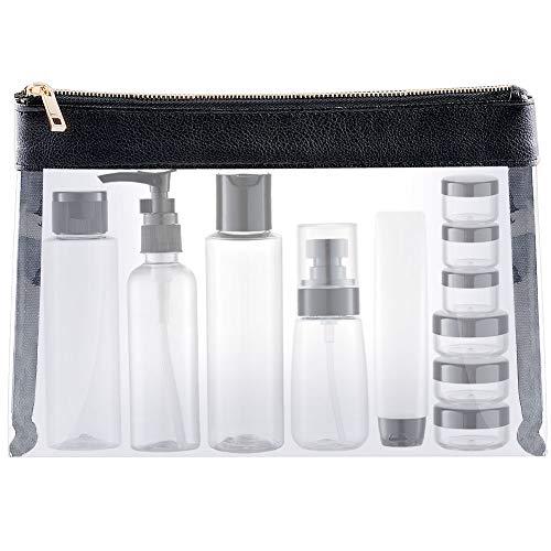 MYLL 15 Pièces Flacons Vide Kit Voyage Avion (Max.100ml) Contenant Plastique Bouteille dans Recipient, Cuir Organisateur Set de Toilette - pour Cosmetique (Transparent)