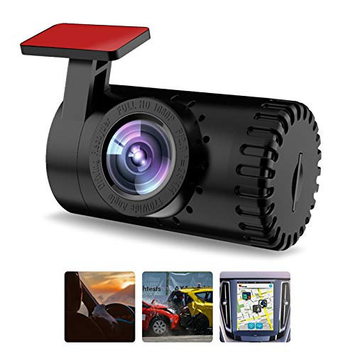 Mini Driving Recorder for Cars, USB Car Camera Backup Camera, Hidden Dash Cam for Android 140 ° Wide Angle, Built in ADAS Security System Video, Sound and Cycle Record