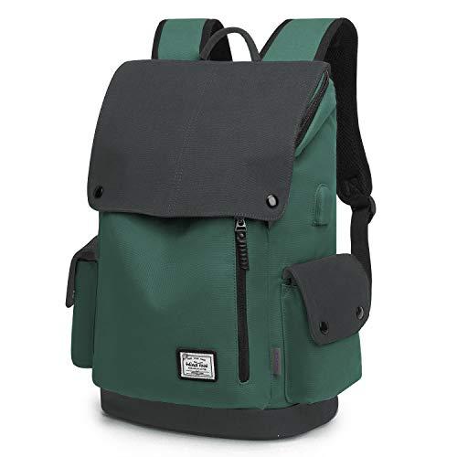 Wind Took Canvas Backpack Daypack 15 Zoll Laptop Rucksack Schulrucksack Tagesrucksack mit USB Anschluss für Uni Büro Alltag Freizeit, Grün