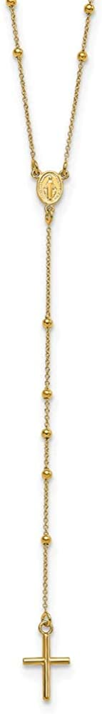 14k Yellow Gold Rosary 24 Inch Chain Necklace Pendant Charm Religious Fine Jewelry For Women Gifts For Her