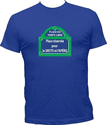 Boutique KKO - T-Shirt Humoristique Place Temps Libre - Bleu - X-Large
