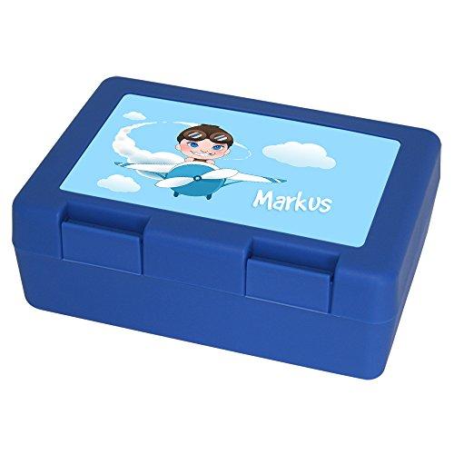 Brotdose mit Namen Markus und schönem Piloten-Motiv für Jungen | Brotbox blau - Vesperdose - Vesperbox - Brotzeitdose mit Vornamen