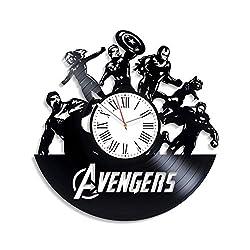 Kovides Handmade Gift Avengers Vinyl Clock Superhero Film Wall Clock Exclusive Marvel Comics Vintage Vinyl Record Clock Avengers Clock Birthday Gifts Iron Man Decor for Nursery Unique Decoration