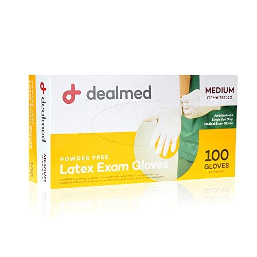 Dealmed Latex Exam Gloves, Non-Sterile, Professional Grade, Medium, 100 Count (Pack of 1)