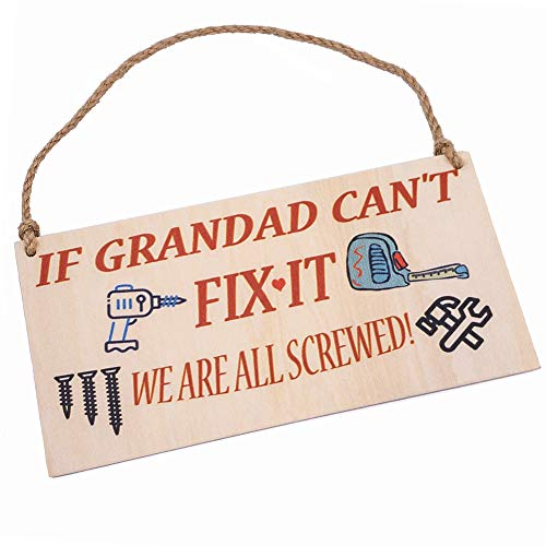 HONZEE Grandad Fix It Screwed Gifts for Grandad Man Cave Garage Shed Hanging Plaque Dad Gift Sign Funny