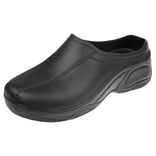 Zapatos de Enfermería Médico de Cocinero de Mujeres Hombres para Trabajar Plástico Sin Agujero Blanco/Negro - Negro, 40