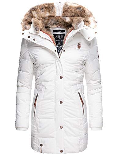 Marikoo Damen Wintermantel Steppmantel Parka mit Kapuze Lieblings Jacke Weiß Gr. S