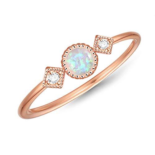 litulituhallo Anillo de oro rosa para mujer, diseño de estrella de ópalo y luna con circonita, boda de eternidad