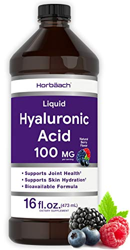 Liquid Hyaluronic Acid Supplement | 100 mg | 16 oz | Berry Flavor | Vegan, Non-GMO, and Gluten Free Formula | by Horbaach