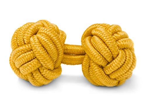 THE SUITS CREW Manschettenknöpfe Seidenknoten Herren Damen Nylon Stoff | Cufflinks Silk Knots für alle Umschlagmanschetten Hemden | Einfarbig (Gelb)