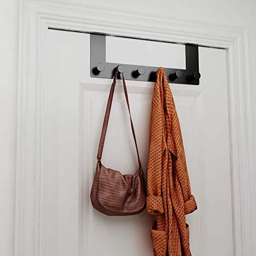 Perchero para puerta de color negro mate, para colgar sin necesidad de taladrar, con parte posterior antiarañazos, perchero para puerta negro