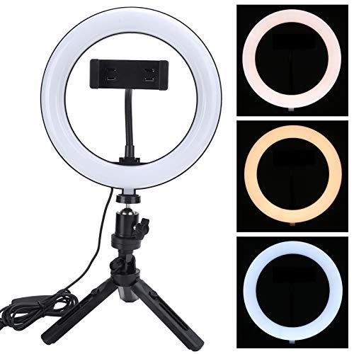 Anillo de luz LED con soporte para trípode y soporte para teléfono Anillo de luz para selfie con atenuación no polar de 3 colores para transmisión en vivo, video de YouTube, fotografía publicitaria