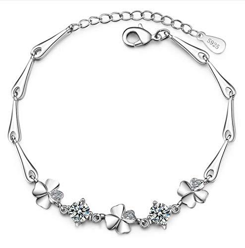 shenlanyu Pulsera de plata de ley 925 para mujer con suerte, linda y dulce estudiante femenina de cuatro hojas trébol pulseras novia regalo blanco