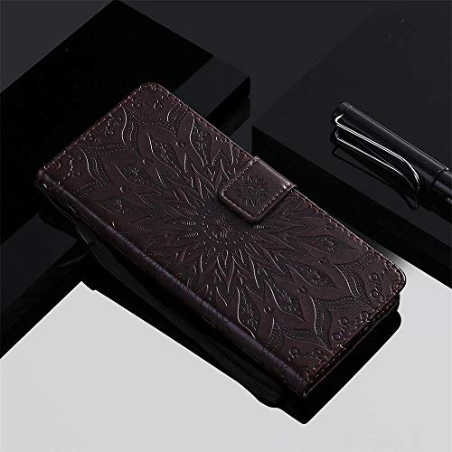 Qiaogle Teléfono Case para LG G3 Mini/LG G3s - Sun Flower Embossing Funda de PU Cuero Billetera Clamshell Carcasa Cover (Marrón)