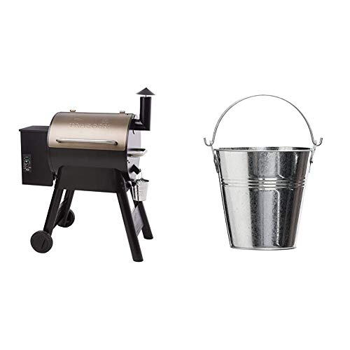 Traeger Grills Pro Series 22 Pellet Grill & Smoker | Bronze, Gen I, 572 Sq. In. Capacity | TFB57PZBO model & HDW152 Grease Bucket for Wood Pellet BBQ, Original Version
