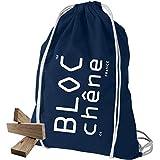 BLOC-chêne - Jeu de Construction Bois - Sac Bleu Marine de 200 Planchettes