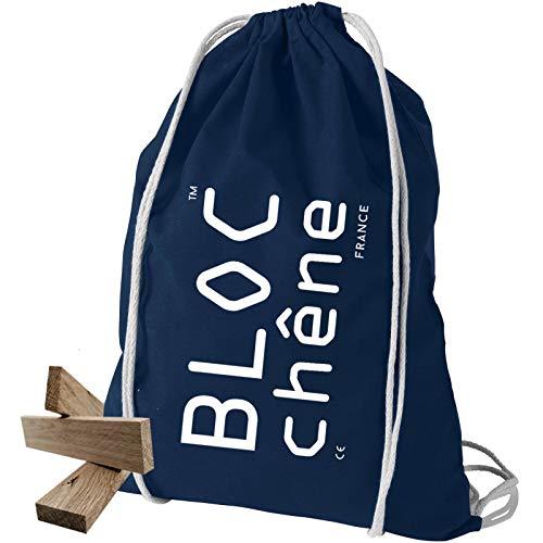 BLOC chêne - Sac Bleu Marine - Jeu de Construction de 200 planchettes pour Les Amoureux du Bois