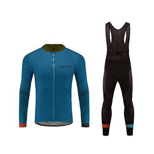 Uglyfrog HIZD18WR-28 Completo Ciclismo Abbigliamento Set MTB Racing Uomo Inverno Termico Vello Maniche Lunghe Antivento Ciclismo Maglia Lunga e Pantaloni