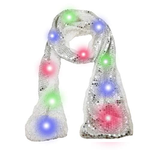 Luwint Colorful LED Flashing Sequin Scarf - Novelty Cool Lights Up Rave Clothing Accessories Toys Gifts for Women Kids Halloween Costume Birthday Party Games Ideas (Silver)