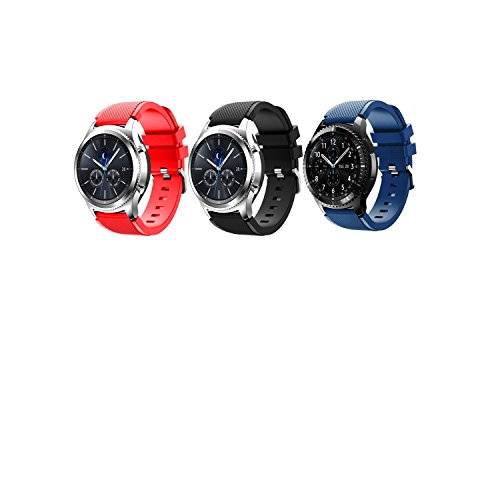 Angersi Silicone Morbido Sport Cinturino Replacement Bands Compatibile con Samsung Gear S3 Frontier Gear S3 Classic Galaxy Watch 46mm Galaxy watch3 45mm Smartwatch