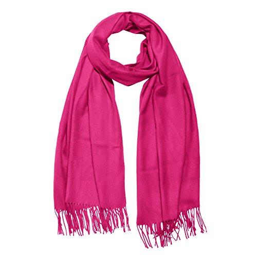 DonDon Damen Schal einfarbig weich 185 x 65 cm pink