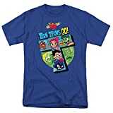 Teen Titans Go! Adult T Shirt & Stickers (Medium) Royal Blue