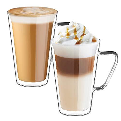 Ecooe Doble Pared de Vidrio de Borosilicato Tazas para el Té Café con Leche Latte Capuchino Jugo 2x450ml