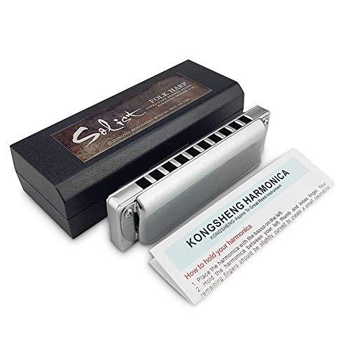 SMXGF 10 Hoyos armónica diatónica Folk Blues Harp Armónica tecla C Profesional de Instrumentos Musicales (Color : Key of Low F)
