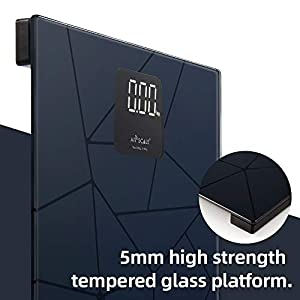 AIR SCALE Digital Bathroom Scale for People Health Body Weight 400 Pounds High Accurate with LED Screen Backlit Large Temperred Glass Platform Include Tape Measure and AAA Battery