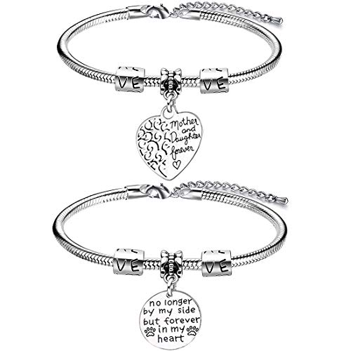 2 Pcs Mother Bracelet -YUESEN Bracelet for Women, Mothers Day Gift from Daughter Son, Thanksgiving Gift for Mum, Silver Engraved Pendant Snake Bracelet For Women Lady Girl Adjustable
