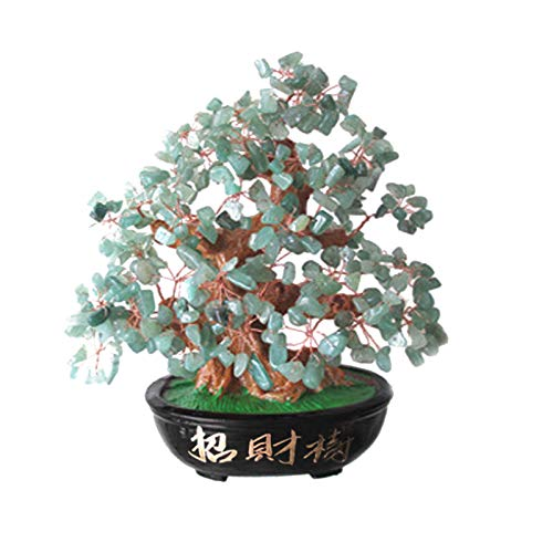 Upupto Lucky Money Tree Crystal Fortune Tree, Ornament Wealth Ornament Home Office Decoration Crafts Crafts,Verde