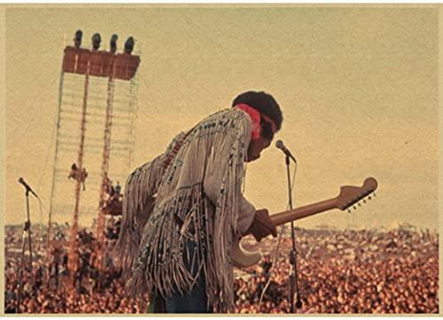 FENGBIN Leinwand Poster Dekor Woodstock Rockmusik Festival/Retro Dekorative Malerei Poster Klassisches Poster Vintage Papier50 * 70 cm Feuchtigkeitsbeständig Und Langlebig