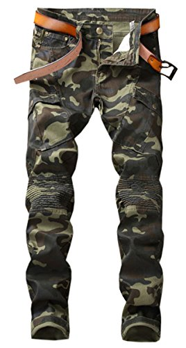 Men's Camo Cargo Moto Biker Denim Jeans Pants with Pocket, Camouflage, 38