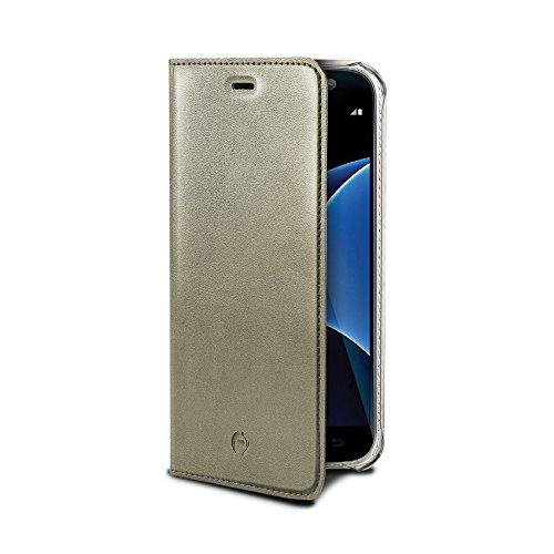 Celly airpelle Agenda lederen wallet cover beschermhoes met glasvezel voor Samsung Galaxy S7 - goud