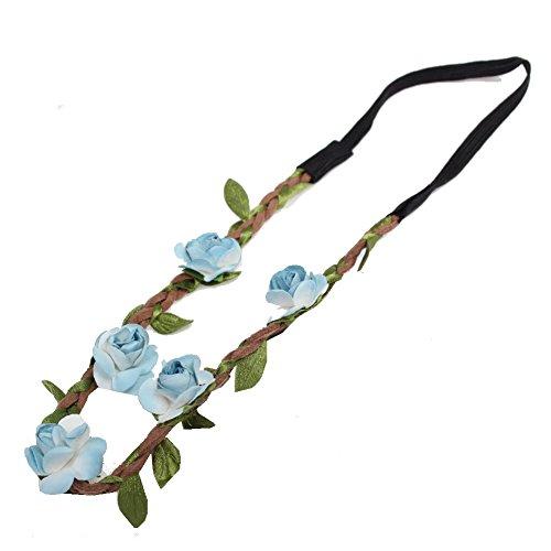 JUSTFOX - Trachten Rosen Haarband Geflochten (Blau)