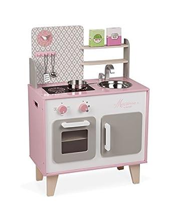 Janod - J06567 - Cocina Macaron de madera con nevera y microondas con sonido, 5 accesorios incluidos, color rosa y blanco, juego de simulación para niños a partir de 3 años