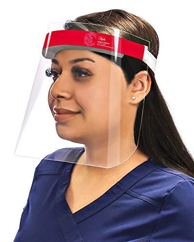 Escudos faciales de seguridad reutilizables, con revestimiento antivaho y espuma hipoalergénica, fabricados en Estados Unidos.