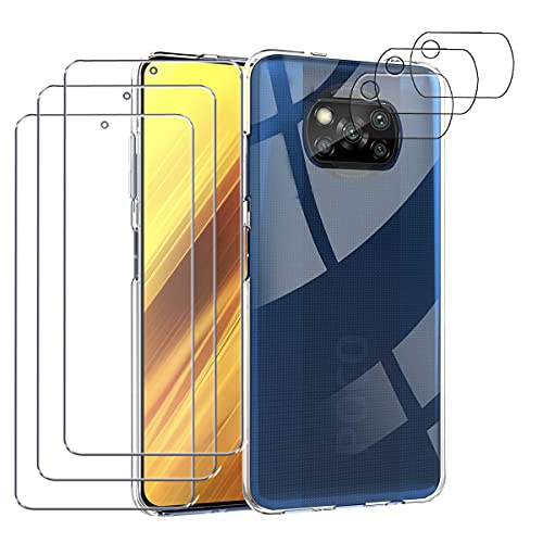 Hülle für Xiaomi POCO X3 Pro/POCO X3 NFC + 3 Stück Panzerglas Schutzfolie Displayschutzfolie 3 Stück Kamera Schutzfolie [9-Härte] Transparent Silikon Handy Hüllen Stoßfest Kratzfest