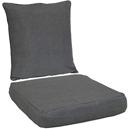 Sunnydaze Back and Seat Cushion Set for Outdoor Furniture - 2-Piece Replacement Cushions for Deep Seating Patio Chair - Outside Pads for Porch, Deck and Garden Seats - Gray